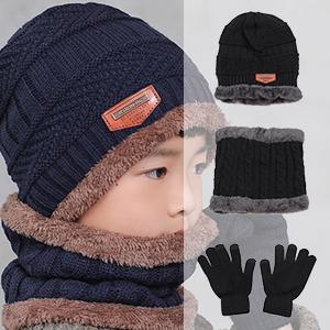 Strickm/ütze mit Fleecefutter f/ür Jungen M/ädchen Gisdanchz Kinder Winter M/ütze Schal Handschuhe Set