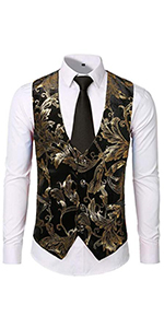 mens casual suit vest shiny sequins luxury  sliver gold  stage performance waistcoat black wedding