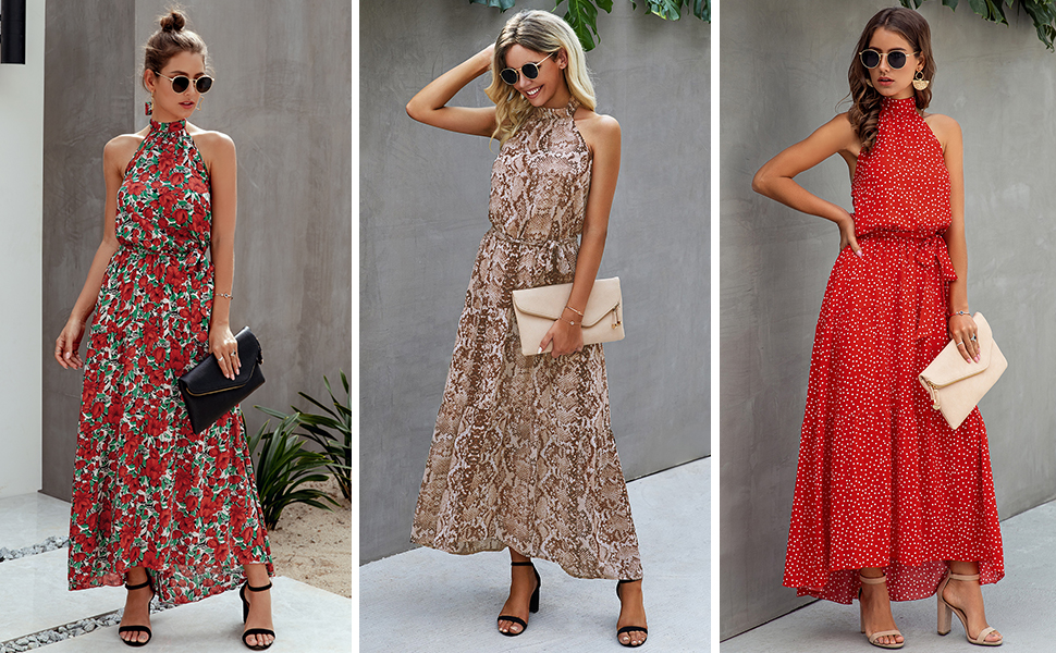 Minipeach Halter Neck Floral Print Polka Dot Solid Color Long Beach Maxi Dress Sundress with Belt