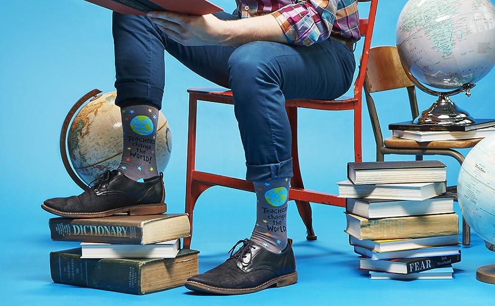 nerd, teacher, world, globe, teach, school, read, blue, socks, mens, sock, funny, fun