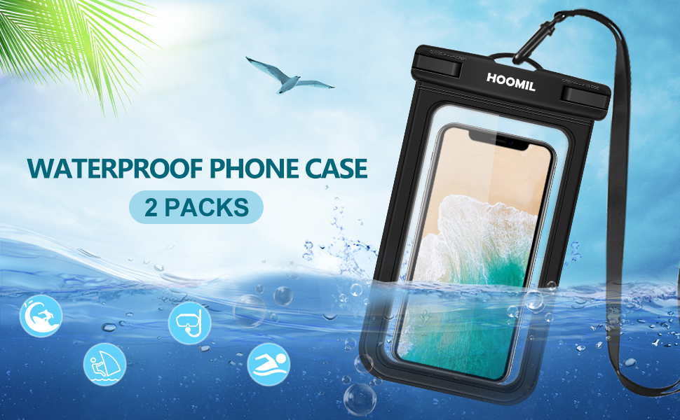 HOOMIL Waterproof Phone Case, IPX8 Certified Waterproof Phone Pouch Dry Bag for Samsung Galaxy A50/A40/A10/Apple iPhone XS Max/8 Plus/7/Huawei P Smart/P20 Lite Smartphones
