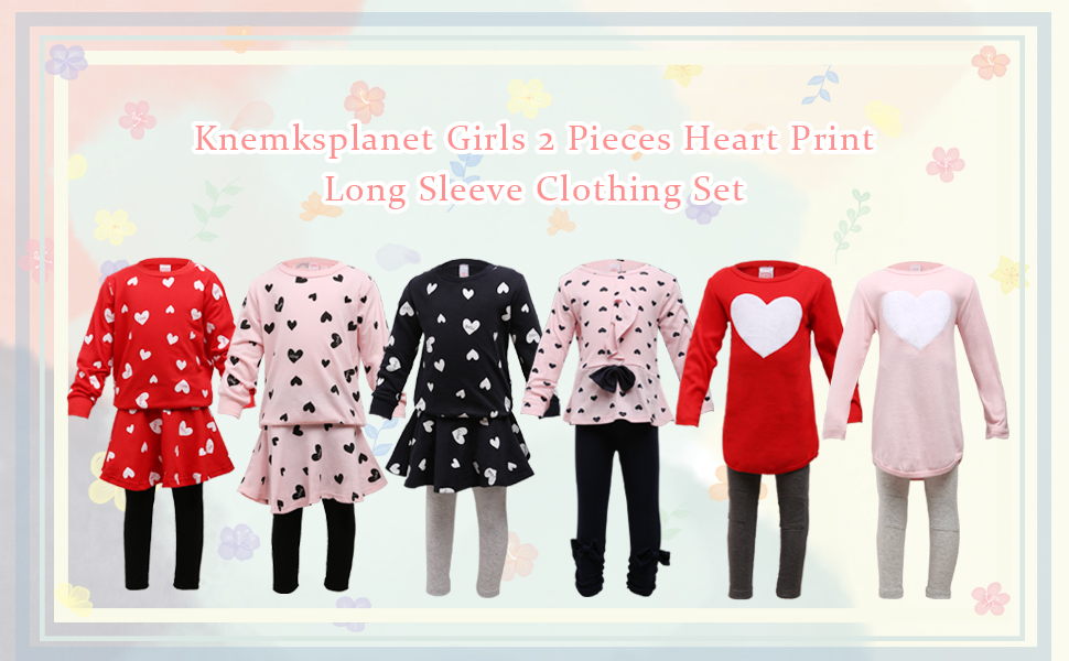 Little Girls Clothing Set Outfits 2 Pieces Heart Print Long Sleeve Clothes Set