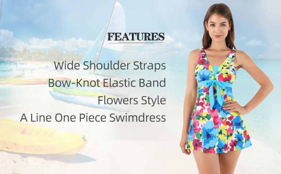 a line one piece swimdress