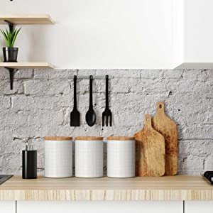 lifestyle photo for Kitchen Canisters with Bamboo Lids White