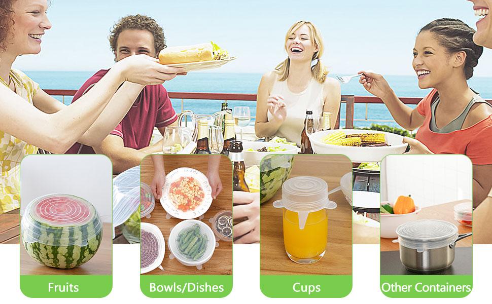 TesRank Silicone Stretch Coperchi Riutilizzabile e duraturo per Alimenti con 4 Pezzi Alimentari Tenuta Clip 12 Pezzi Coperchio in Silicone Estensibile