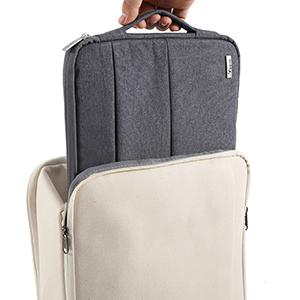La bolsa para portátil Voova gris se puede poner en la mochila