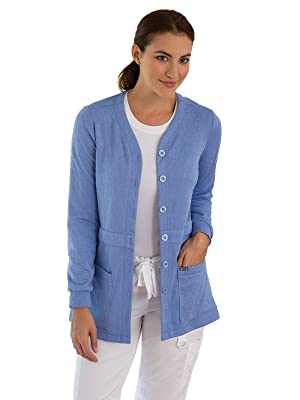 model wearing koi labcoats 440 koi Claire Knit Scrub Sweater featuring