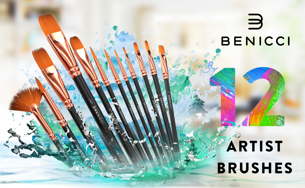 Artist Paint Brush Set of 12 Highest Quality