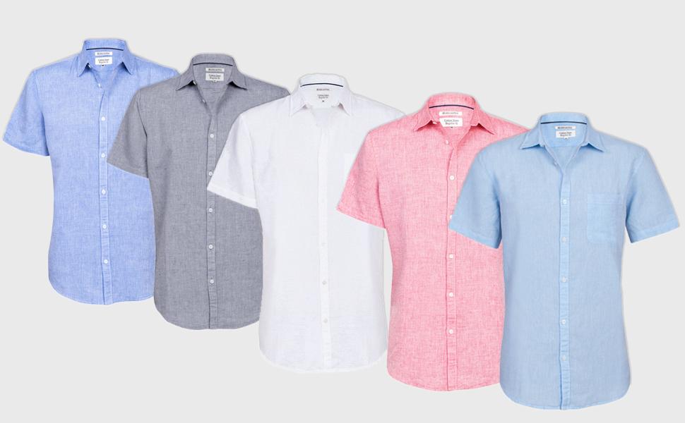 mens linen shirts short sleeves