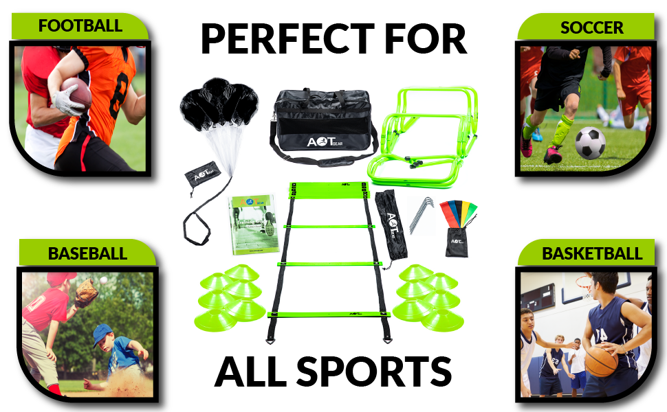 football training equipment for youth exercise ladder running parachute speed training