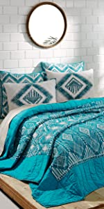 vhc brands, bedding, coastal, home decor, 3 coast way, three coast way, karina, quilt