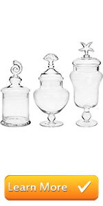 Seashell Handle Clear Glass Apothecary Jars/Storage Canisters with Lids