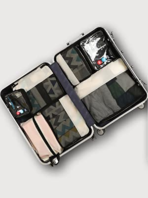 luggage with packing cubes