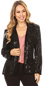 Anna-Kaci Womens Shiny Sequin Long Sleeve Cropped Blazer