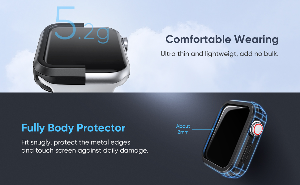 UGREEN Protective Case Compatible for Apple Watch Series 4 44mm 2 Pack