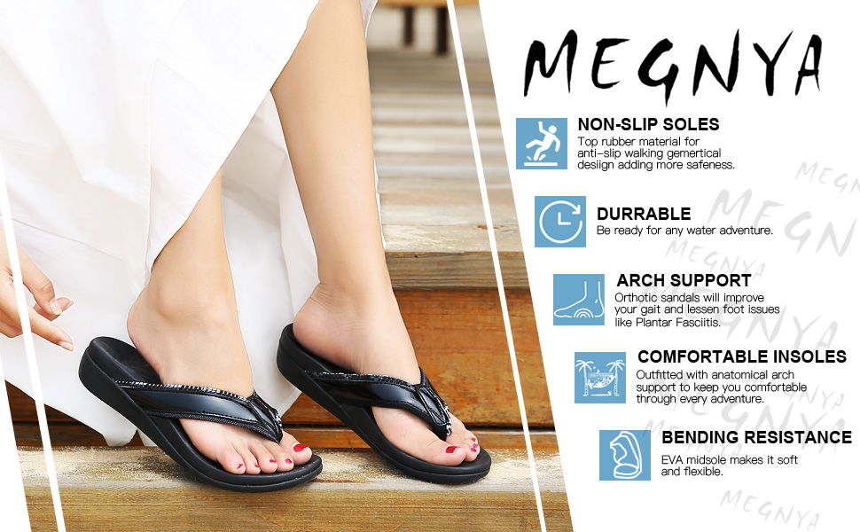 MEGNYA Womens Orthotic Flips Flops Sandals Plantar Fasciitis Arch Support Sandals for Flat Feet Proven Heel and Foot Pain Relief Comfortable Walk