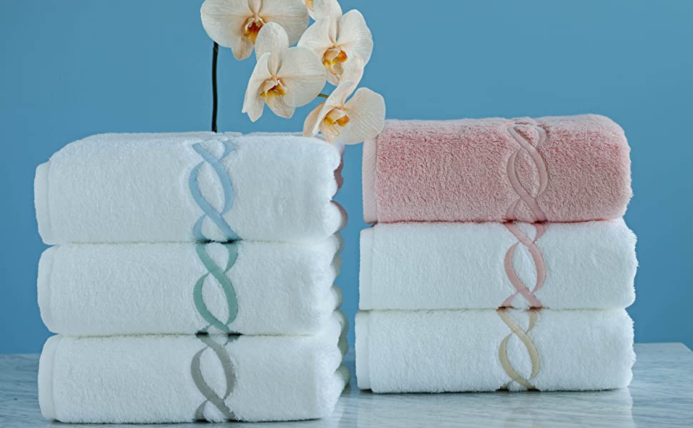 calla angel luxe chain egyptian cotton towel in forest