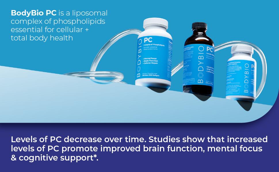 phosphatidylcholine bodybio pc liposomal phospholipids cell body health brain function mental focus
