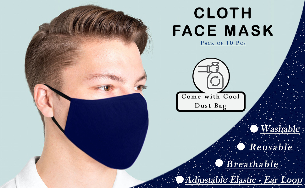 cloth face mask washable for women men white adult adjustable ear loops layer soft thick youth