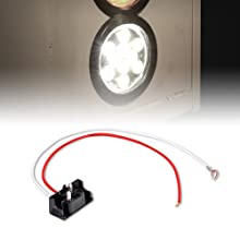 """4pc White 4"""" 10-LED Round Tail Light with accessories included."""