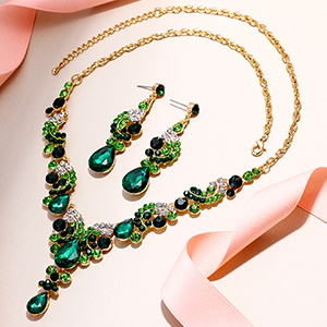 green stone party ball necklace earrings set