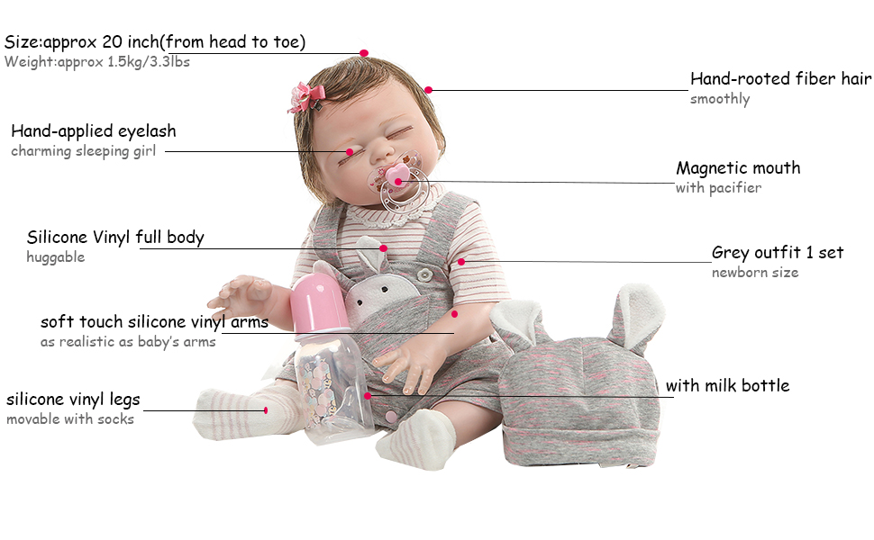20 inch silicone baby girl dolls
