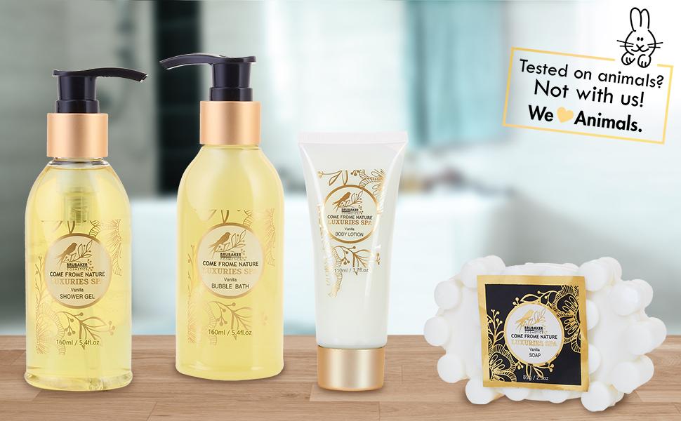 Photo de groupe des 4 différents produits de beauté