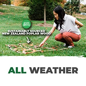 All Weather Sustainably Sourced New Zealand Poplar Wood Tic Tac Toe Tossing Game