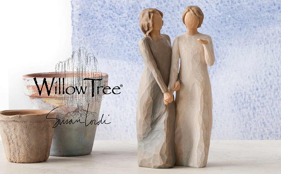 Willow Tree My Sister, My friend figures walking hand in hand.