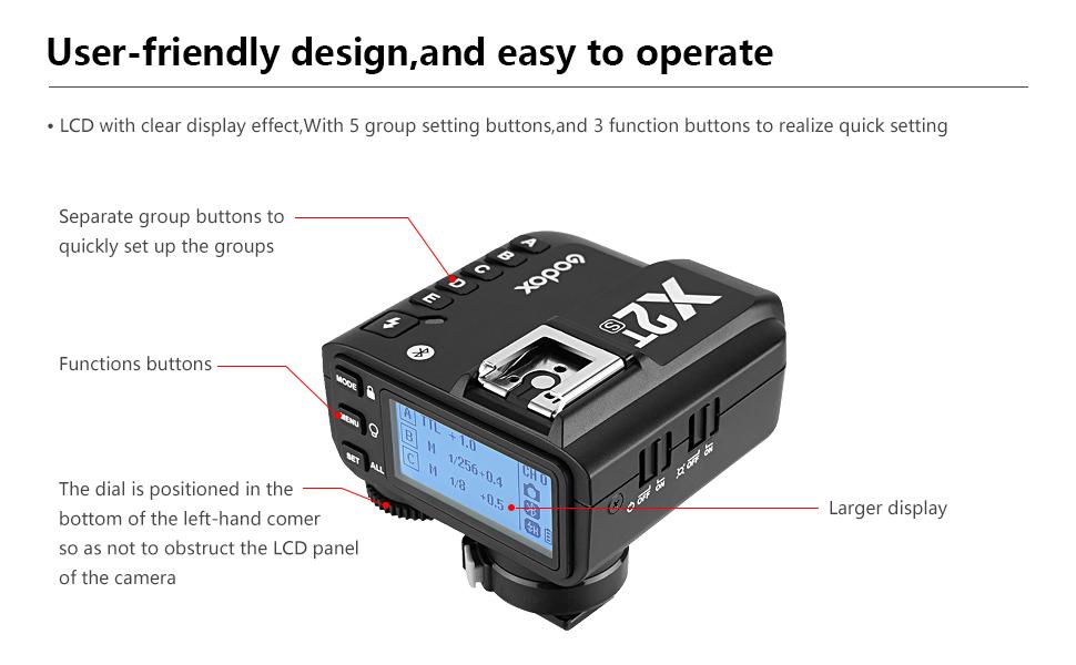 Godox X2T-S TTL 1//8000s HSS 2.4G Disparador de flash inal/ámbrico Compatible con c/ámara Sony Disparador inal/ámbrico