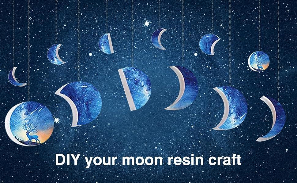 Moldes de Silicona para Fundición de Resina Molde Resina Epoxi Moon para Manualidades 2 Tamaños, con Ganchos de Tornillo de Ojo 20 Piezas