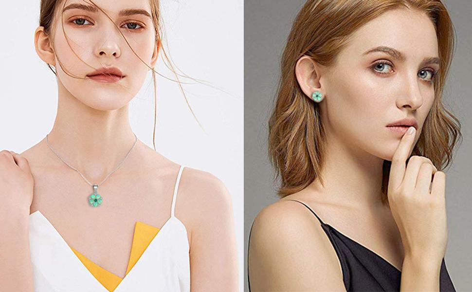 flower opal jewelry sets for women