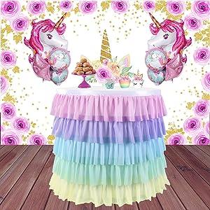 rainbow chiffon tulle table skirt for paries