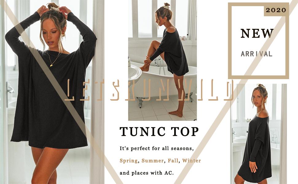 Women's Long Sleeve Long Tunic Shirts Top for Leggings