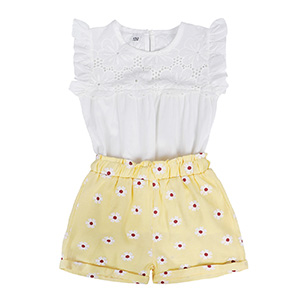 Jurebecia Toddler Baby Girls Clothes Ruffle Cami Top White Fruit Print Top Short Pants Summer Outfit Set
