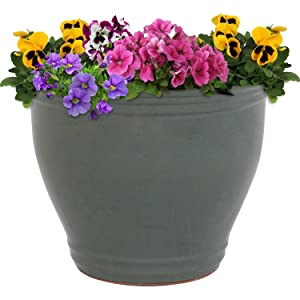 planter shown with flowers