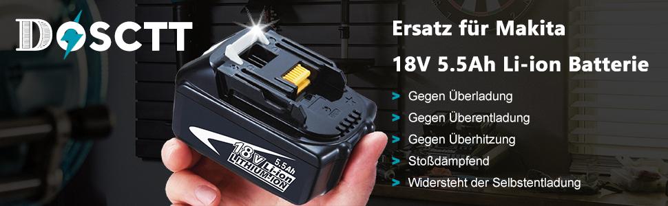 DOSCTT Ersatz f/ür Makita BL1850 18V 5,0Ah Li-Ion Ersatz Akku-Werkzeuge BL1840 BL1830 BL1820 BL1845 Bl1835 BL1825 BL1815 196673-6 196399-0 194205-3 194204-5 194309-1 LXT-400