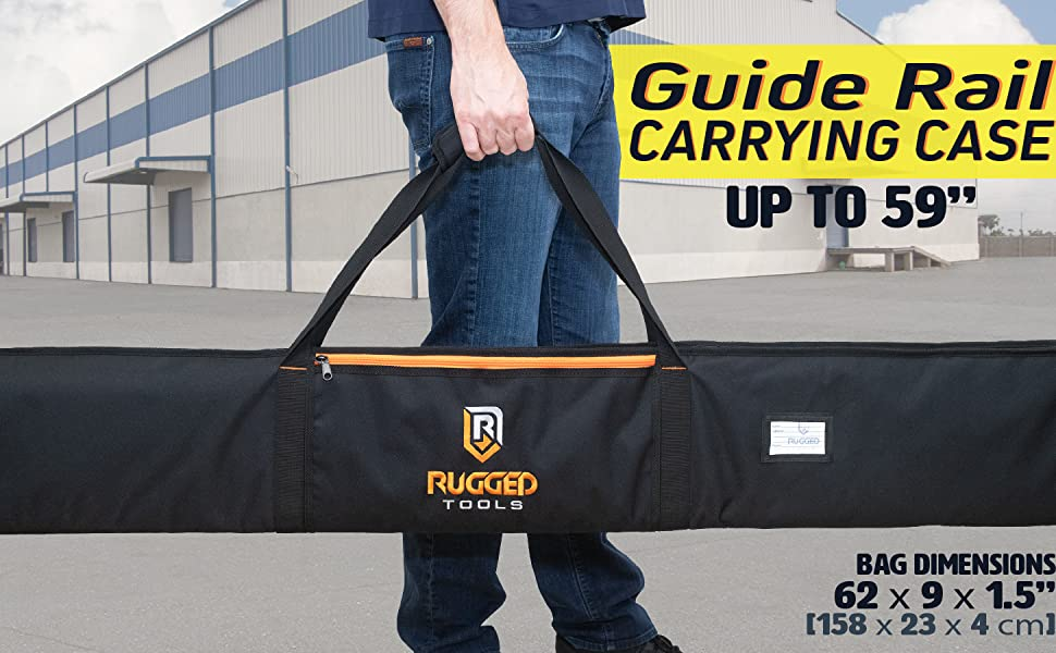"Rugged Tools 59"" Guide Rail TrackSaw Saw Guide Rail Tracks Carrying Case Bag"