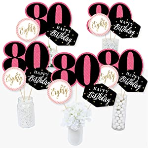 Chic 80th Eightieth Birthday Bday Party Pink Black Gold Table Toppers Centerpiece