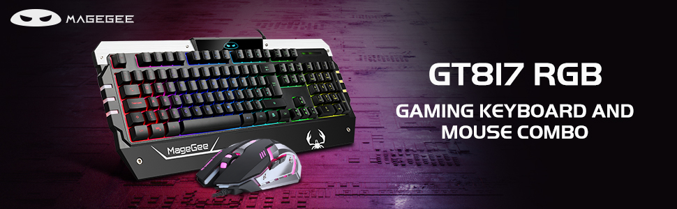 Anivia GT817 104 Key Rainbow Backlit Keyboard and Mouse Set RGB Backlit Computer Keyboard USB Wired Mouse for Windows PC Gamers USB RGB Gaming Keyboard and Mouse Combo