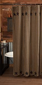Black Star Shower Curtains primitive country rustic Americana VHC Brands bath cotton check star
