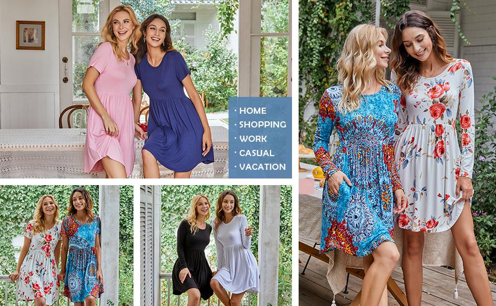 Women's Short Sleeve Dresses Casual Swing Dress