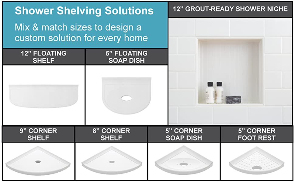 metro shower corner shelf collection in all sizes