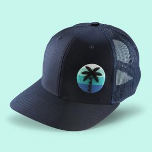 Palm Tree trucker hat navy