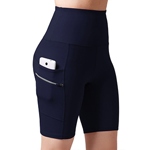 "ODODOS Dual Pocket High Waist 8"" Yoga Shorts"
