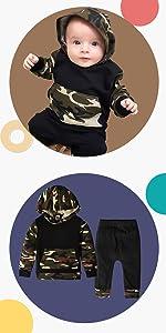 Conjuntos de Sudaderas con Capucha de Manga Larga Niños pequeños Conjuntos Retales para Bebés Niñas