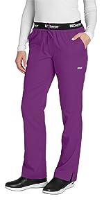 model wearing Women's Grey's Anatomy Active Logo Waist Drawstring Scrub Pant