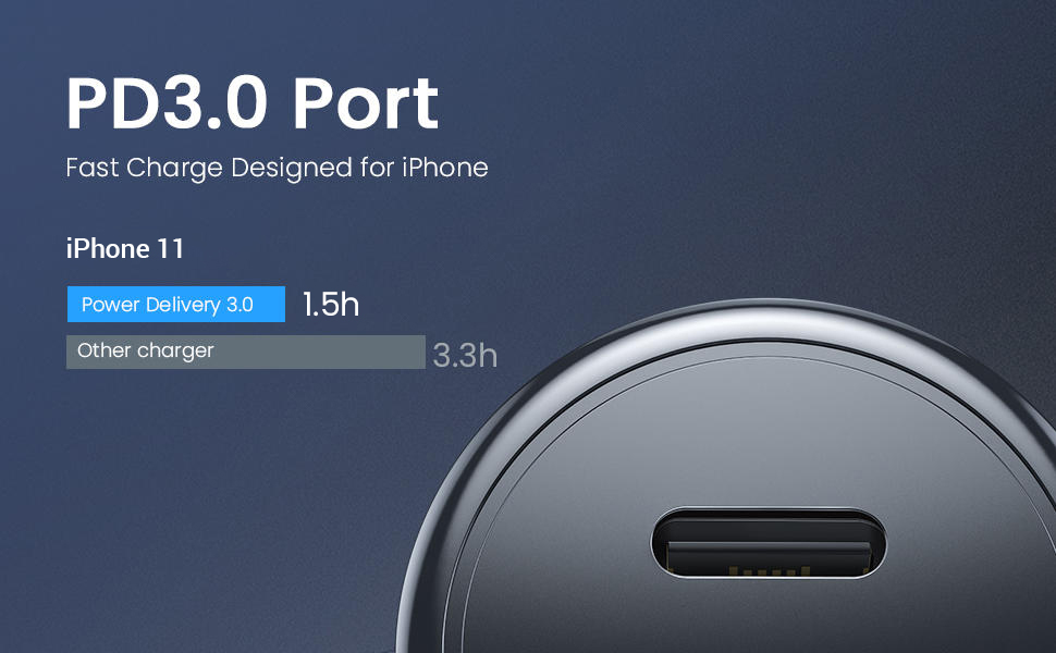 USB C Car Charger Super Mini AINOPE All Metal 6A Fast USB Car Charger PD&QC 3.0 Dual Port Car Adapter Fit Compatible with iPhone 11/11 Pro/11 Pro ...