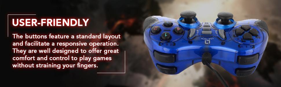 Live Tech GP 01 Turbo Double Vibration Game Pad (Blue)