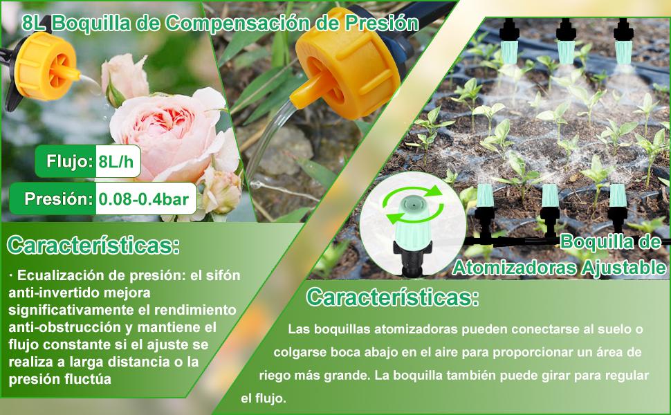 CAVEEN Sistema de Riego de Jardín 40M, Kit de Riego por Goteo Micro Riego Automático para Jardín/Invernadero/Césped/Maceta (Verde Oscuro): Amazon.es: Jardín